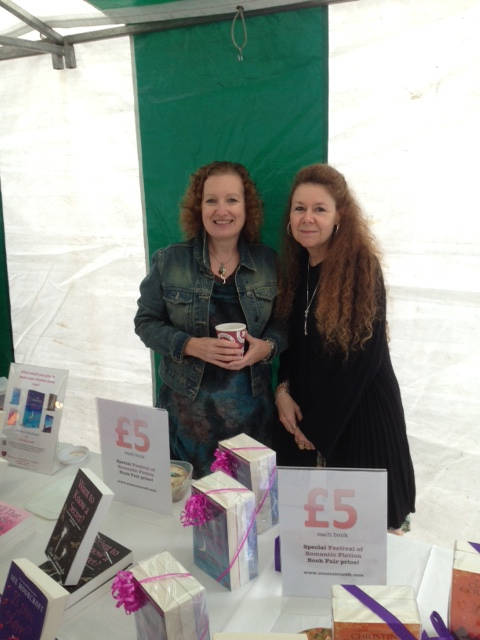 image showing Scenes from and friends in the book tent at the Festival of Romantic Fiction 2014