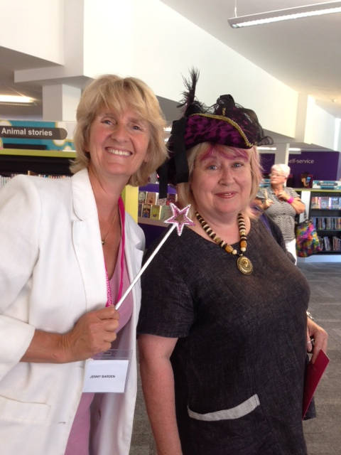 image showing Jenny Barden and Janet Gover at Wellington Library