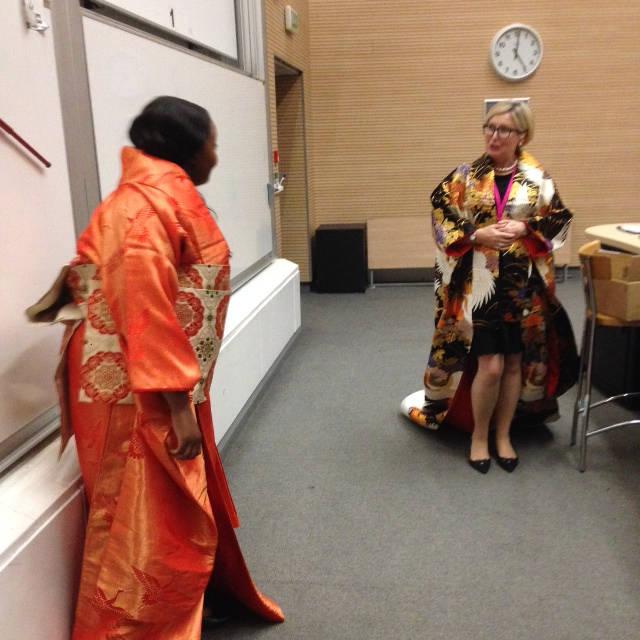 image showing Our two volunteers in 'uchikake' kimono robes